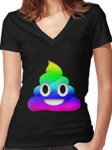 Rainbow Smiling Poop Emoji Women's Fitted V-Neck T-Shirt
