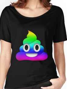 Rainbow Smiling Poop Emoji Women's Relaxed Fit T-Shirt