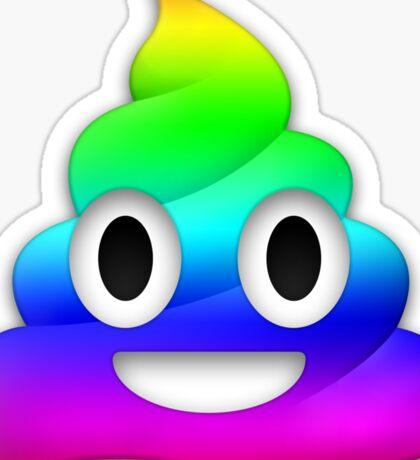 Rainbow Smiling Poop Emoji Sticker