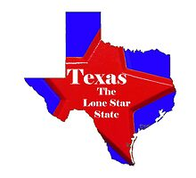 Texas Map with State Nickname:  The Lone Star State by Havocgirl