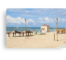 Sunny winter's day on Frishman Beach, Tel Aviv, Israel Canvas Print