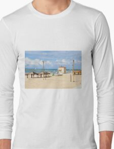 Sunny winter's day on Frishman Beach, Tel Aviv, Israel Long Sleeve T-Shirt