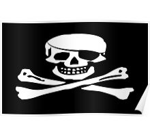 Skull & Crossbones, Jolly Roger, PIRATE FLAG, Pirate, Crew, Buccaneer, white Poster