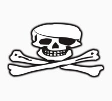 Skull & Crossbones, Jolly Roger, PIRATE FLAG, Pirate, Crew, Buccaneer, white One Piece - Short Sleeve