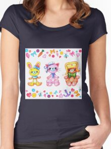 Cute set of animals for kids Women's Fitted Scoop T-Shirt