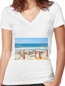 Frishman Beach, Tel Aviv, Israel  Women's Fitted V-Neck T-Shirt