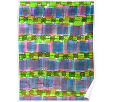 Purple Square Rows with Fluorescent Green Strips Poster