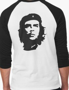 CHE, Che Guevara, Revolution, Marxist, Revolutionary, Cuba, Power to the people! Black on White Men's Baseball ¾ T-Shirt