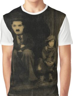Charlie Chaplin and the Kid Old Style Graphic T-Shirt