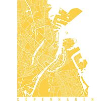 Copenhagen map yellow Photographic Print