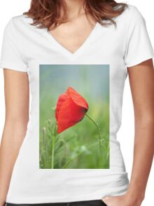Wild red poppy Women's Fitted V-Neck T-Shirt