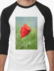 Wild red poppy Men's Baseball ¾ T-Shirt