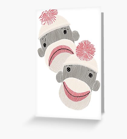 Tragedy and Comedy Sock Monkeys Greeting Card