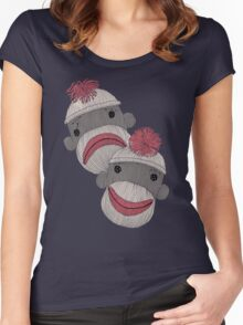 Tragedy and Comedy Sock Monkeys Women's Fitted Scoop T-Shirt