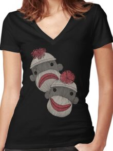 Tragedy and Comedy Sock Monkeys Women's Fitted V-Neck T-Shirt