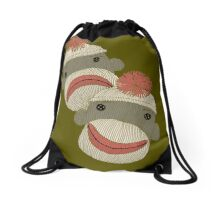Tragedy and Comedy Sock Monkeys Drawstring Bag