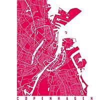 Copenhagen map raspberry Photographic Print