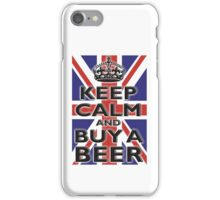UNION JACK, FLAG, KEEP CALM & BUY A BEER, UK, ON WHITE iPhone Case/Skin