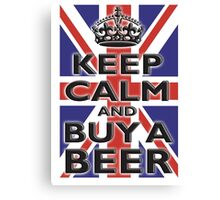 UNION JACK, FLAG, KEEP CALM & BUY A BEER, UK, ON WHITE Canvas Print