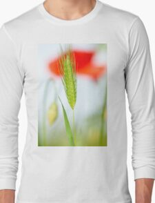 Grass and red poppy Long Sleeve T-Shirt