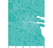 Dublin map turquoise Photographic Print