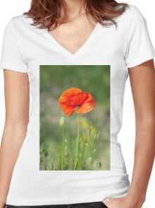 Green wild meadow and red poppy Women's Fitted V-Neck T-Shirt