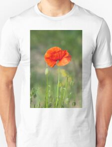 Green wild meadow and red poppy T-Shirt