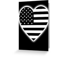 American Flag, BLACK Heart, Stars & Stripes, Pure & Simple, America, USA, on BLACK,  Greeting Card