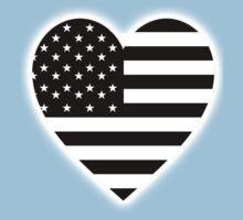 American Flag, BLACK Heart, Stars & Stripes, Pure & Simple, America, USA, on BLACK,  Baby Tee