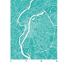 Lyon map turquoise Photographic Print