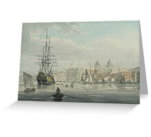 ROBERT CLEVELEY -  Greenwich from the River Thames Circa Watercolour over pen Greeting Card