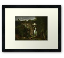 Sketching the Ruins of Tintern Abbey by Samuel Colman. Framed Print