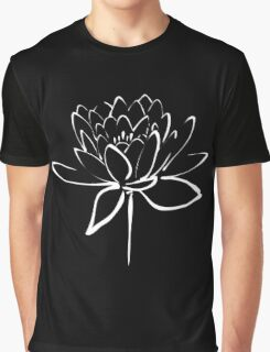 Lotus Flower Calligraphy (White) Graphic T-Shirt