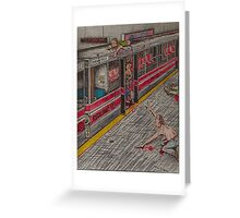 Zombies on the Red Line Greeting Card
