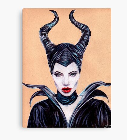 Maleficent Coloured Pencil Drawing Canvas Print
