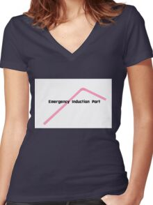 Emergency Induction Port Women's Fitted V-Neck T-Shirt