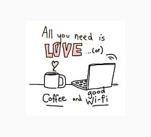 All you need is ... coffee and good wi-fi ! / Human doodles Classic T-Shirt