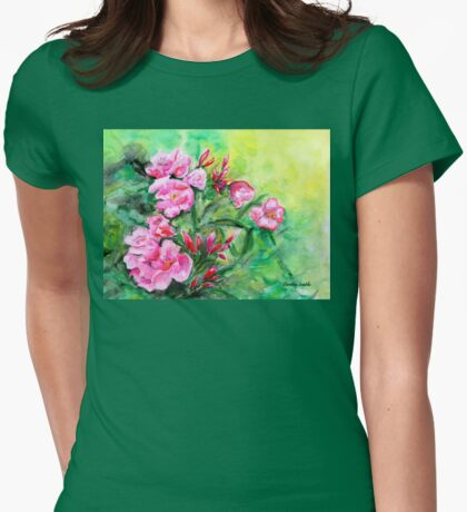 Pink Oleander Womens Fitted T-Shirt