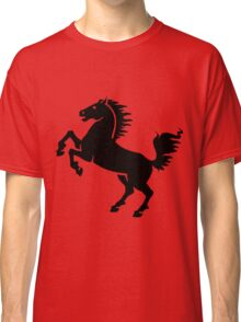 Silhouette Black and White Stallion Rearing Classic T-Shirt