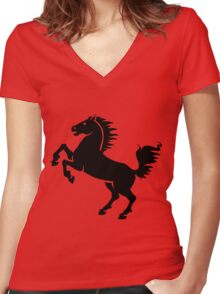 Silhouette Black and White Stallion Rearing Women's Fitted V-Neck T-Shirt