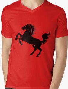 Silhouette Black and White Stallion Rearing Mens V-Neck T-Shirt