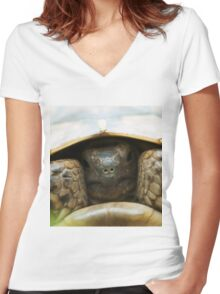 Tortoise hiding its head Women's Fitted V-Neck T-Shirt