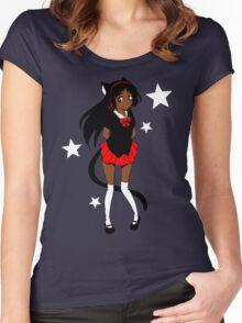 Neko School Girl Women's Fitted Scoop T-Shirt