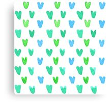 Lovely pattern with green-blue watercolor hearts Canvas Print