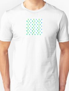 Lovely pattern with green-blue watercolor hearts Unisex T-Shirt