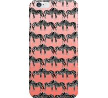Cute Funny Zebra Pattern on Coral Gradient iPhone Case/Skin