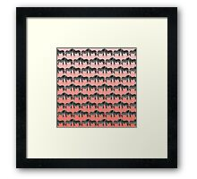 Cute Funny Zebra Pattern on Coral Gradient Framed Print