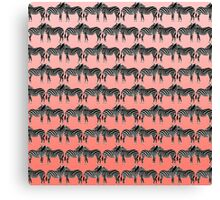 Cute Funny Zebra Pattern on Coral Gradient Canvas Print