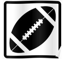 Black and White Football Icon Silhouette Poster