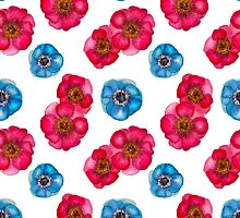 Pink and blue anemones by Katerina Izotova